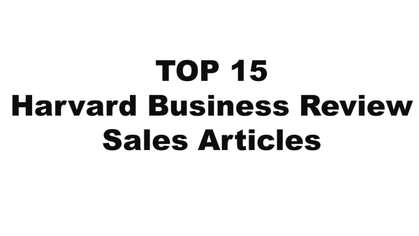 Top 15 HBR Articles